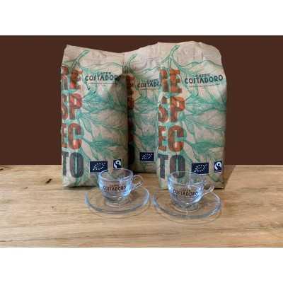 Actiepakket 3 kg biologische koffiebonen + 2 espresso kop & schotel