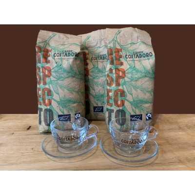 Actiepakket 3 kg biologische koffiebonen + 2 kop en schotel