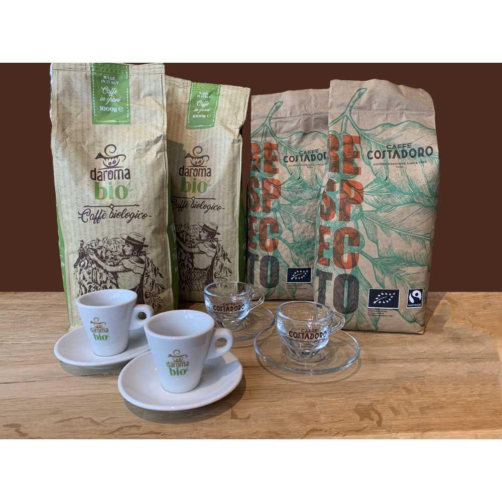 Actiepakket Biologische & Fair Trade Koffiebonen + gratis servies -