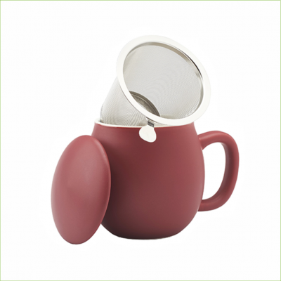 Theemok bordeaux rood + filter -