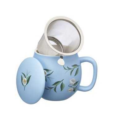 Theemok lichtblauw bloemenprint + filter -
