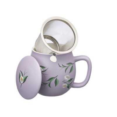 Theemok matt paars bloemenprint + filter -