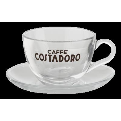 Costadoro cappuccino kop en schotel glas