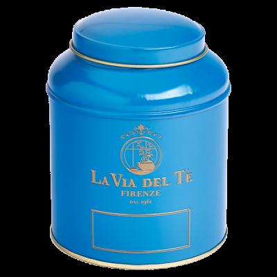 Theeblik la via del te 125 grams blauw