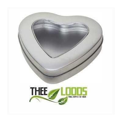 Theebewaarblikje hart vorm - circa 50 gram