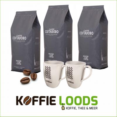 Actie pakket 3 kg koffiebonen 100% arabica + 2 mokken
