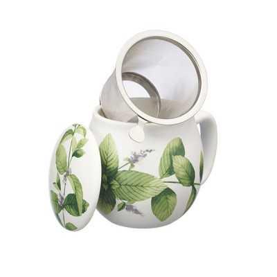Theemok groene bloemenprint + filter