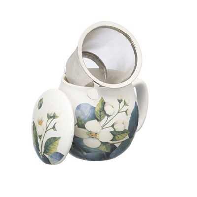 Theemok witte bloemenprint + filter